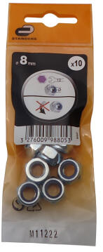 1-WAY NUT D8 10P ZINC PLTD STEEL
