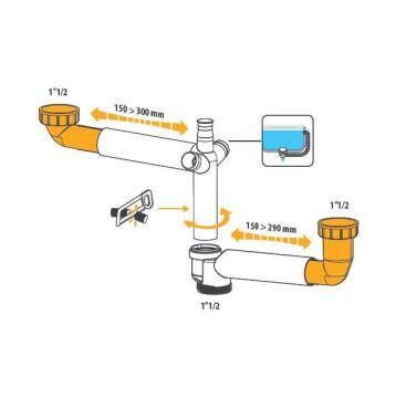 Waste kit EQUATION incl evacuation pipe space saving